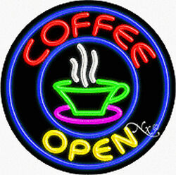 """Brand New """"coffee Open 26x26x3 Round Real Neon Sign W/custom Options 11134"""
