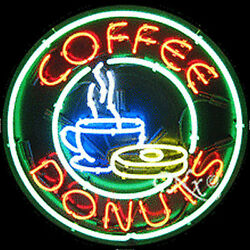 """Brand New """"coffee Donuts 26x26x3 Round Real Neon Sign W/custom Options 11138"""