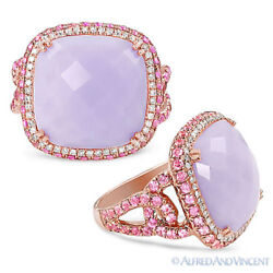 13.15 Ct Chalcedony Round Pink Sapphire Diamond Pave Cocktail Ring 14k Rose Gold