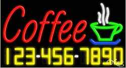 New Coffee W/your Phone Number 37x20 Real Neon Sign W/custom Options 15024