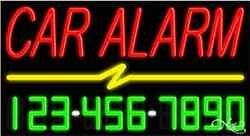 New Car Alarm W/your Phone Number 37x20 Real Neon Sign W/custom Options 15054