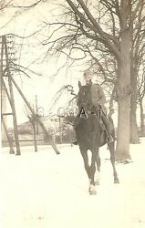 Wwii German Rp- Animal- Military Horse- Officer Rides Horse In Snow