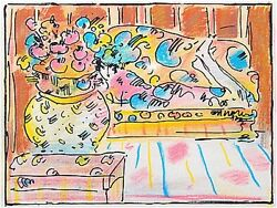 Peter Max  Lady On Couch With Vase  Make Offer  Dsstd