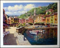 S. Sam Park Harbor At Portofino 2003 Sold Out Silkscreen On Canvas H.signed