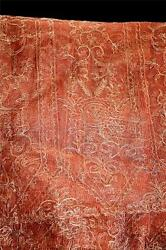 French Antique 1920and039s Deadstock Rust Silk Gold Metallic Filigree Fabric 8yds
