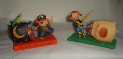 Blossom Bucket 2 Halloween Pirate Boys Figurines Retired 84561 And 89559 Pair Duo