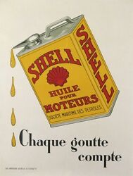 Vintage Poster Of Shell Motor Oil Affiche Ancienne Huiles Shell Moteurs Ci 1930