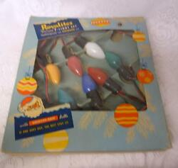 Vintage Royalite Deluxe 7 Multicolor Outdoor Glow Bright Christmas Tree Lights