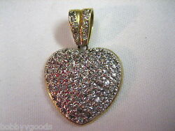 Vintage 14k Yellow Gold And 74 Diamond Heart Shaped Pendant For Necklace