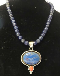 Signed D. Livingston Navajo Native American Sterling Silver Lapis Coral Necklace