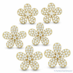 Flower Charm Round Cut Diamond Pave Solid 14k Yellow Gold Earrings W/ Push Backs