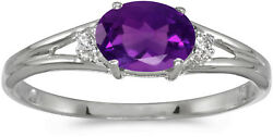14k White Gold Oval Amethyst And Diamond Ring Cm-rm1789xw-02