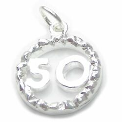 50th Birthday Sterling Silver Charm Pendant .925 Number 50 Anniversary
