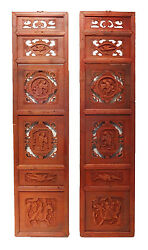 Superb Antique Carved Wood Chinese Wall Hangings/shutters Pair 54 H