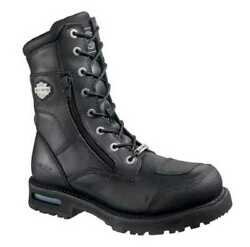 Harley-davidson Menand039s Riddick 8-inch Lace-up Black Motorcycle Boots D98308