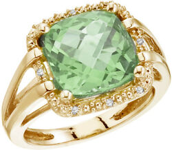 14k Yellow Gold 10 Mm 3/8 Green Amethyst And Diamond Rope Ring Cm-rm2810-ga