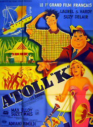 Atoll K 1951 Stan Laurel Oliver Hardy Pierre Pigeot Large French Poster