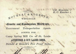 1876 Austin Texas Moureau And Koerber Anheuser And Co Brewing Lager Beer St Louis Mo