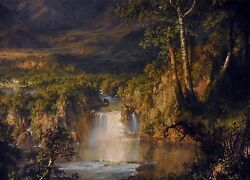 3429.landscape Painting With Waterfall Poster.home Room School Office Art Decor