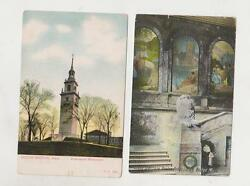 Lot of 2 vintage Boston postcards Boston Public Library Evacuation Monument