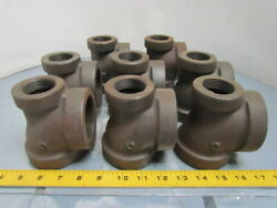 Grinnell 2x1-1/4x2npt Cast Iron Black Pipe Reducing Tee Class 125 Usa Lot Of 8