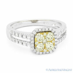 0.94 Ct Round Cut Yellow Diamond Pave Right-hand Ring In 2-tone 14k White Gold