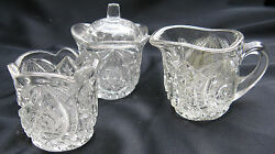 1907 Antique Pattern Glass Buzz Star, Whirligig 3 Piece Child's Toy Table Set