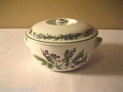Royal Worcester Herbs China Green Trim 1qt Round Covered Casserole Discontinued