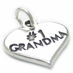 Number 1 Grandma Heart Sterling Silver Charm .925 X 1 Love Hearts