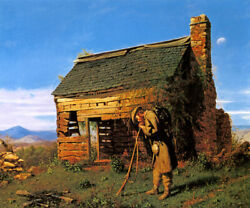 Lost Cause 1869 Confederate Soldier Home Civil War Painting By Mosler Repro