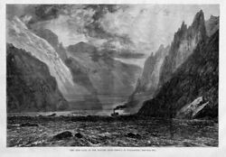 Iron Gate Of The Danube River Near Orsova In Wallachia Boat Mountains Engraving
