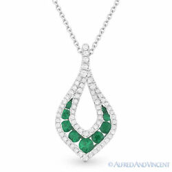 0.61 Ct Emerald Gem And Diamond Pave 14k White Gold Drop Pendant And Chain Necklace
