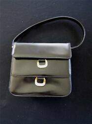 RARE VINTAGE 1960#x27;S BLACK LEATHER quot;DAFANquot; FRENCH BAG 8quot;L X 7 1 2quot;H X 3quot;quot;W EX CON $106.25