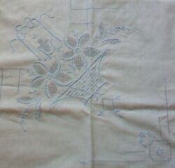 White Cotton Rectangular Tablecloth 34quot; x 32quot; Blue Embroidered Basket Flowers