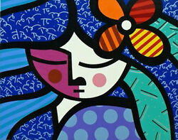 Romero Britto  Girl With Flower  Print Ba Make Offer