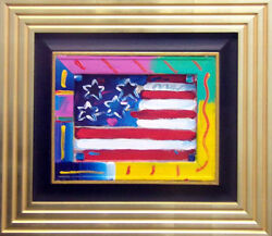 Peter Max American Flag Acrylic on canvas Original Art wcustom frameHand Signed