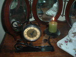 Antique Style Black Wrought Iron Table Clock And Candle Holder, Runs Well
