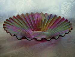 Impressive Opalescent Ruby/reds/blues/greens/gold Blown Art Glass Ribbed Bowl