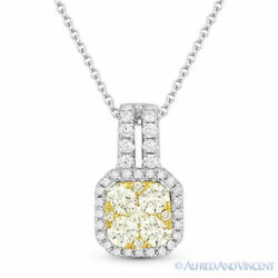 0.76ct Round Cut Diamond Pave 18k Yellow And White Gold Pendant 14k Chain Necklace