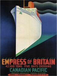 4676.empress Of Britain.canada Pacific Steamship.poster.decor Home Office Art