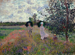 5455.monet.man And Woman Walk On Field With Child.poster.decor Home Office Art