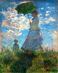 5469.monet.woman With Umbrella On Field With Child.poster.decor Home Office Art