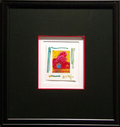 Peter Max Sail Boat Mix Media Lithograph Art Custom Framed Hand Signed