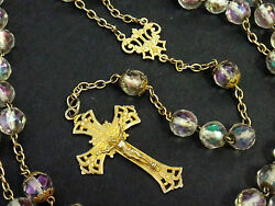 Huge 23 Antique French Sterling Silver Vermeil Rosary Iridescent Crystal Beads
