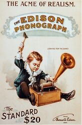6324.the Acme Of Realism.the Edison Phonograph.kid Plays.poster.home Office Art