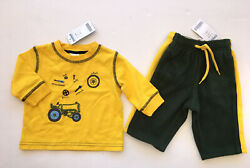Nwt Gymboree Tractor Company 3-6 Months Yellow Tool Tee And Green Fleece Pants