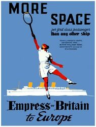 7973.empress Of Britain.more Space.woman Playing Tennis.poster.art Wall Decor