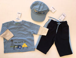 Nwt Gymboree Tractor Company 3-6 Months Blue Tee Fleece Pants And Baseball Cap Hat