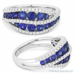 1.60 Ct Round Cut Sapphire And Diamond Pave Right-hand Ring Band In 14k White Gold