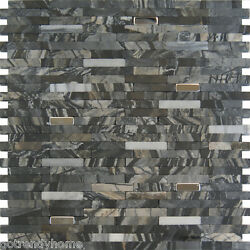 1sf Stainless Steel Insert Marble Stone Black Gray Mosaic Tile Kitchen Wall Pool